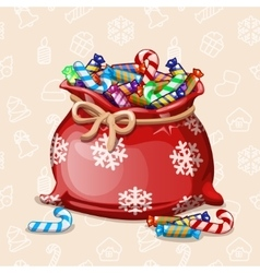 Cartoon full Chiristmas bag of with candy vector