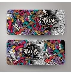 Cartoon hand-drawn doodles musical banners vector