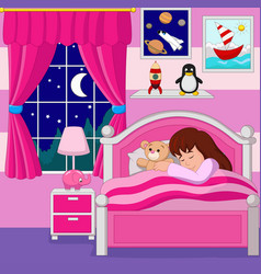 Cartoon little girl sleeping vector