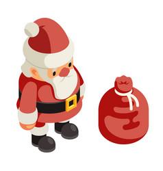 cartoon santa claus frost gift bag new year vector image
