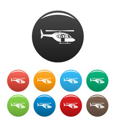 City helicopter icons set color vector