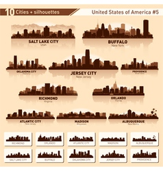 City skyline set 10 city silhouettes of USA 5 vector image