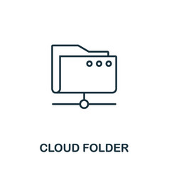 cloud folder icon thin outline style design from vector image