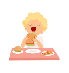 cute boy eating sandwich kid enjoying eating of vector image