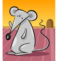 cute gray mouse cartoon vector image
