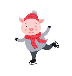 Cute pig is skating new year and christmas card vector