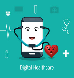 Digital healthcare service medical isolated vector