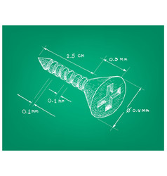 Dimension of cross recessed countersunk head screw vector