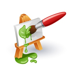 Easel and paintbrush vector