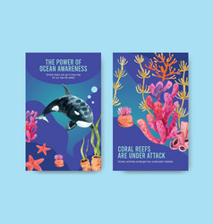 Ebook template design for world oceans day vector