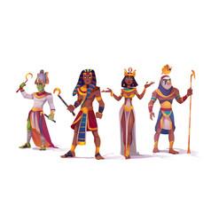 Egyptian god amun osiris pharaoh and cleopatra vector