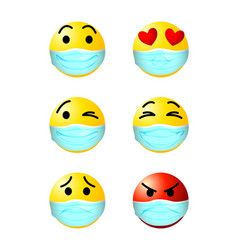 emoticons with face mask vector image