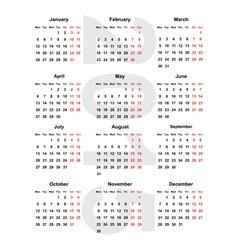 european calendar 2015 vector image
