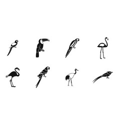 exotic birds icon set simple style vector image