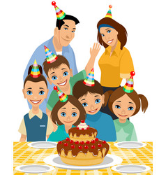 Family the childs birthday vector