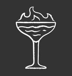 flaming cocktail chalk icon martini glass vector image