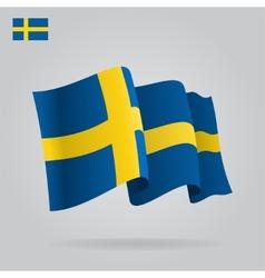 Flat and waving Swedish Flag vector