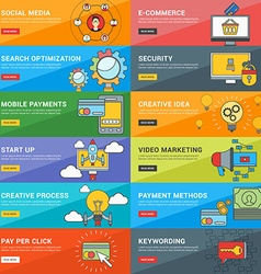 Flat Design Concept Set of for Web Banners vector