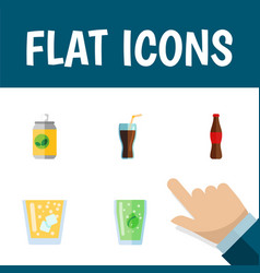 Flat icon beverage set of lemonade cup fizzy vector