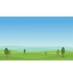 Flat of hill green landscape vector