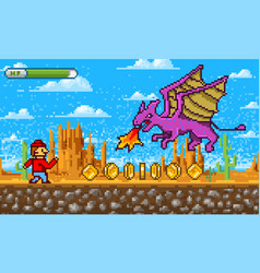 game scene pixel art 8 bit objects platformer vector image
