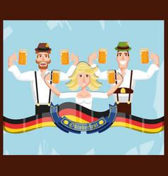 german people with beer oktoberfest celebration vector image