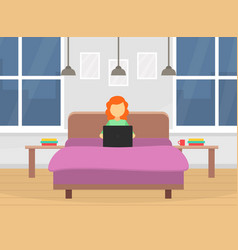 girl working on laptop while sitting on bed vector image