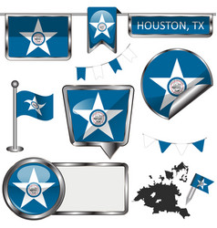 Glossy icons with flag houston tx vector