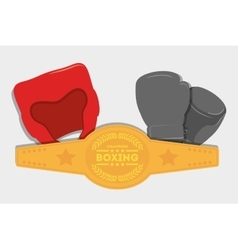 Glove helmet belt boxing design vector