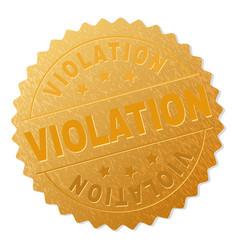 Gold violation badge stamp vector