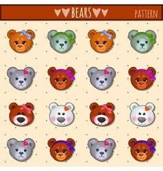 great heads set teddy bears different colors vector image