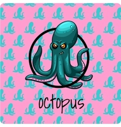 Green octopus on a pink background vector image