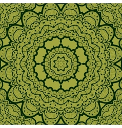 Green seamless mandala Vinatge element Tribal art vector