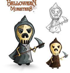 Halloween monsters scary cartoon grim reaper EPS10 vector