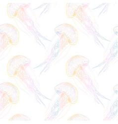 hand drawn jellyfish sea vector image vector image