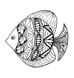 hand drawn ornated fish vector image
