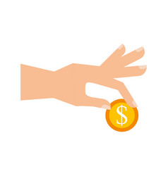 hand with coin dollar business finance vector image