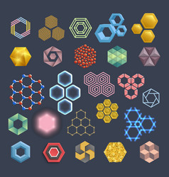 hexagon icons design elements different vector image