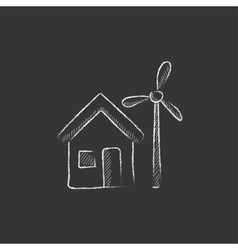 House with windmill Drawn in chalk icon vector