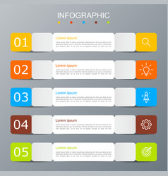 infographic template with image of 5 rectangles vector image