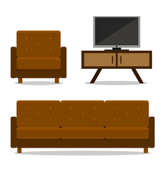 interior home furniture sofa and armchair for room vector image