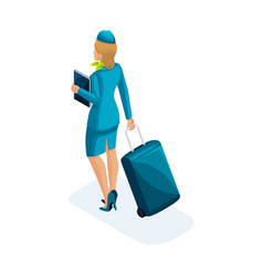 Isometric girl of the stewardess comes vector