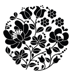 Kalocsai black embroidery - hungarian pattern vector