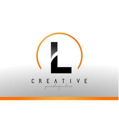 L letter logo design with black orange color cool vector