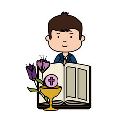 Little boy with bible and flowers first communion vector