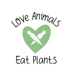 Love animals eat plants vegan emblem template vector