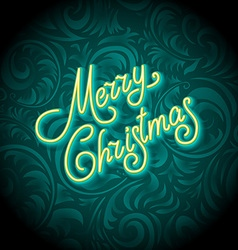 Merry Christmas Card with Neon Color and Bokeh vector