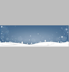 merry christmas with pine tree and snow falling vector image