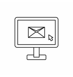 Monitor with email sign icon outline style vector image