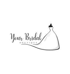 monochrome bridal boutique wedding logo vector image